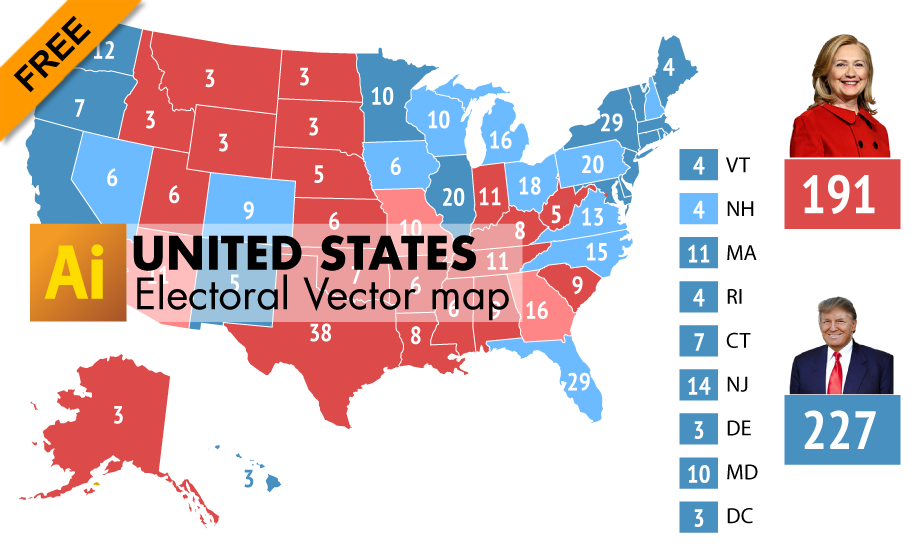 Free Editable electoral vector Map of USA